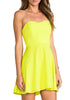 Yellow V Wire Strapless Loose Dress