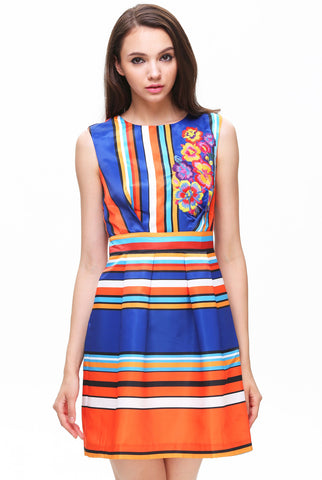 Blue Yellow Sleeveless Striped Floral Dress