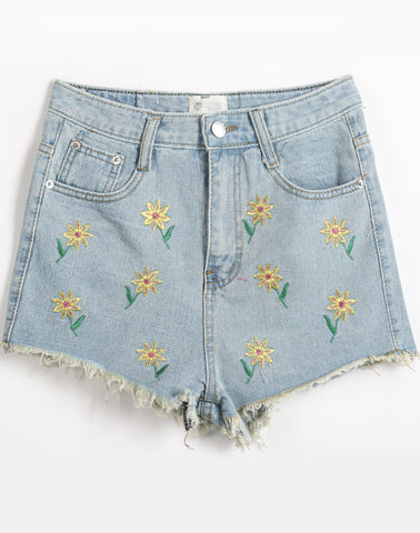 Blue Fringe Embroidered Denim Short