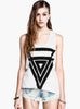 White Sleeveless Triangle Print Vest