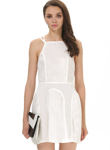 White Spaghetti Strap Backless Ruffle Dress