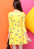 Yellow Three Quarter Sleeve Bee Pattern Ruffle Dress