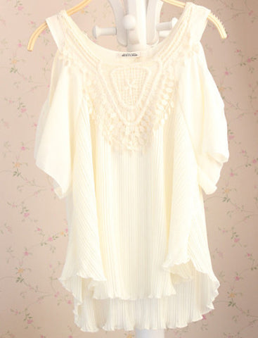 Apricot Off The Shoulder Contrast Lace Chiffon Dress