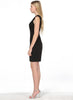Black Sleeveless Slim Belt Split Dress