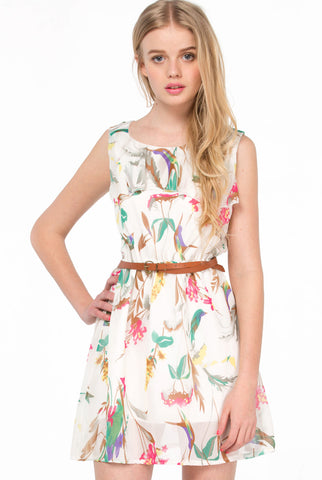 Apricot Sleeveless Floral Belt Chiffon Dress