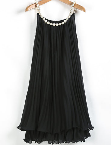 Black Bead Pleated Chiffon A Line Dress