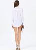 White V Neck Long Sleeve Chiffon Loose Blouse