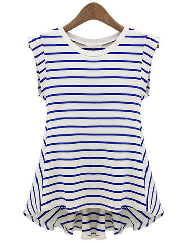 Blue White Striped Sleeveless Loose T-Shirt