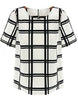 White Black Plaid Short Sleeve Chiffon Blouse
