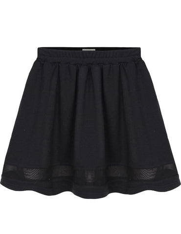 Black Contrast Mesh Yoke Pleated Skirt