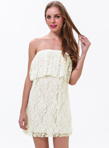White Off The Shoulder Ruffle Lace Dress