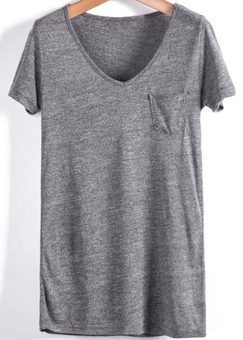 Grey V Neck Short Sleeve Pocket Loose T-Shirt