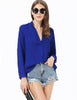 Blue V Neck Long Sleeve Loose Blouse