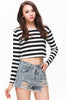 Black White Striped Long Sleeve Crop T-Shirt