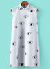 Light Blue Stand Collar Eyes Print Straight Dress