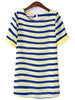 Blue Yellow Striped Short Sleeve Chiffon Dress