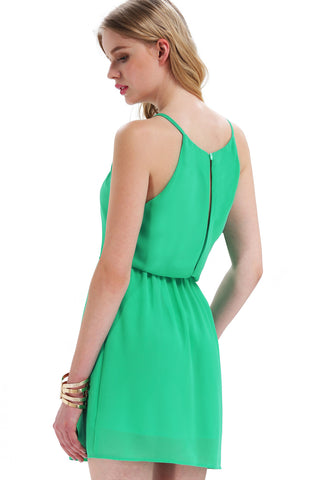 Green Off the Shoulder Back Split Dress