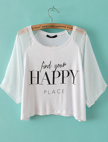 White Contrast Mesh Yoke HAPPY Print Crop T-Shirt