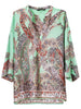 Green Batwing Sleeve Cashews Print Loose Blouse