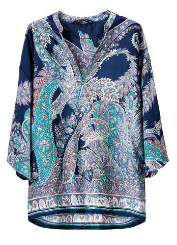 Blue Batwing Sleeve Cashews Print Loose Blouse