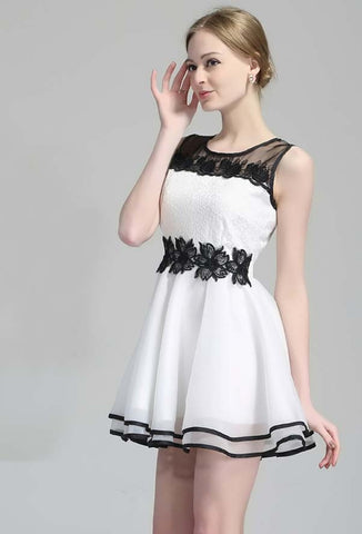 White Contrast Black Lace Embroidery Organza Dress