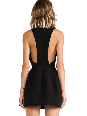 Black Sleeveless Backless Flare Dress
