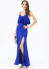 Blue Spaghetti Strap Ruffle Full Length Dress