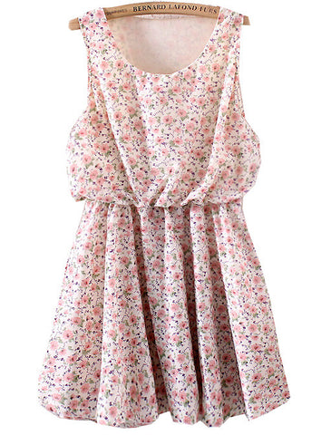 Pink Sleeveless Floral Pleated Chiffon Dress
