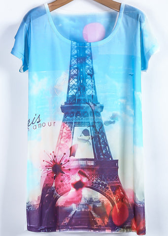 White Blue Short Sleeve Eiffel Tower Print T-Shirt