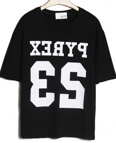 Black Short Sleeve Letters 23 Print T-Shirt