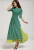 Green Half Sleeve Floral Split Full Length Dress