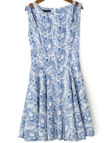 Blue Sleeveless Spaghetti Strap Floral Dress