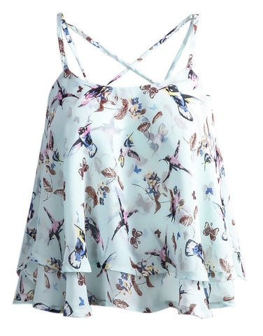 Light Green Spaghetti Strap Butterfly Print Vest