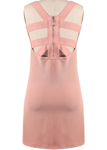 Pink Sleeveless Back Hollow Zipper Dress