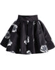 Black Rose Print Flare Skirt