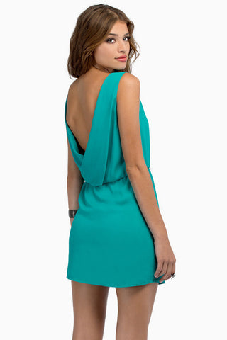 Green Sleeveless Backless Sweet Drop Dress