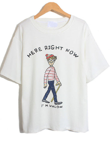 White Short Sleeve Cartoon Character Print T-Shirt