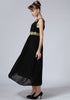 Black Sleeveless Embroidered Full Length Chiffon Dress