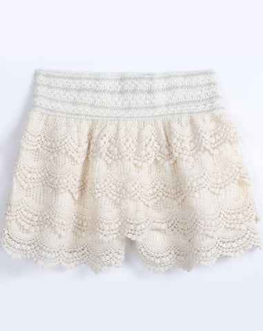 Apricot Floral Crochet Straight Shorts