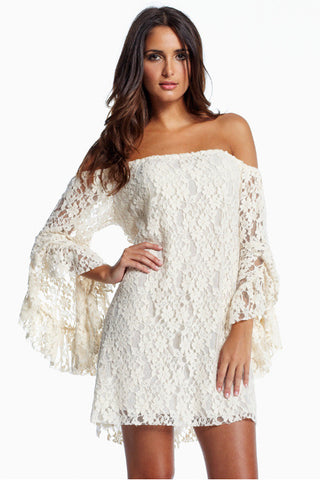 White Long Sleeve Off The Shoulder Lace Dress