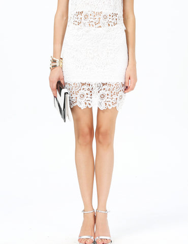 White Floral Crochet Bodycon Lace Skirt