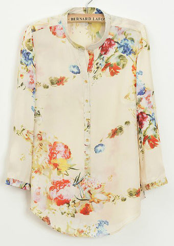 Apricot Three Quarter Length Sleeve Florals Blouse