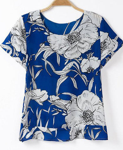 Blue Short Sleeeve Florals Print Blouse