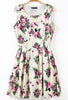 Beige Sleeveless Florals Print Pleated Dress
