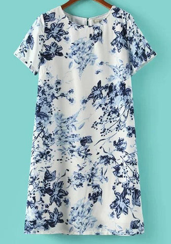 Beige and Blue Short Sleeve Florals Print Dress