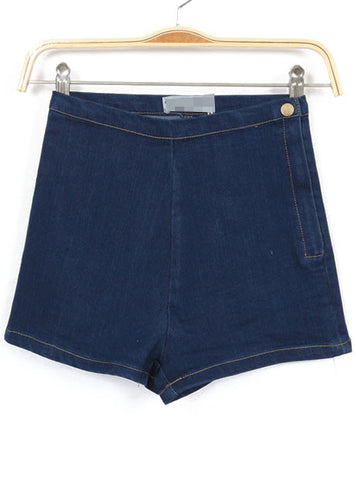 Navy High Waist Zipper Denim Slim Shorts