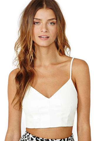 White Spaghetti Strap Faux Leather Crop Vest
