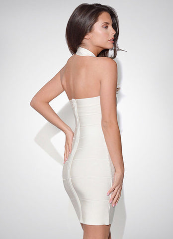 White Halter Sleeveless Backless Bandage Dress