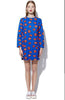 Blue Long Sleeve Lips Print Dress