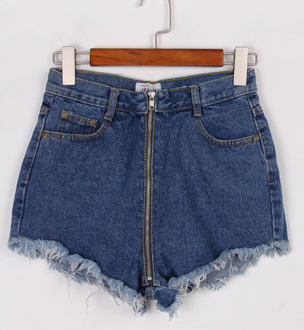 Navy Ripped Pockets Zipper Denim Shorts